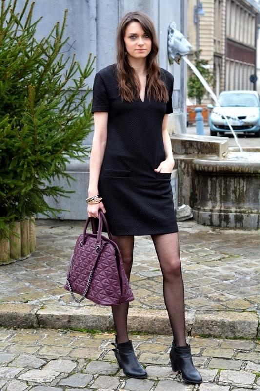 women 39 s purple leather tote bag black quilted shift dress. Black Bedroom Furniture Sets. Home Design Ideas