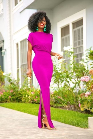 How to Wear Clear Rubber Heeled Sandals: Up your laid-back look by wearing a purple maxi dress. For something more on the classy end to round off this ensemble, throw clear rubber heeled sandals into the mix.