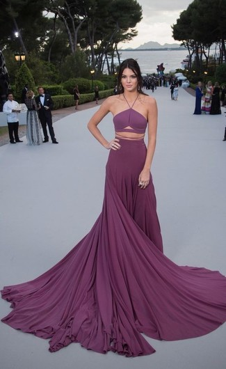 Kendall Jenner wearing Purple Pleated Evening Dress