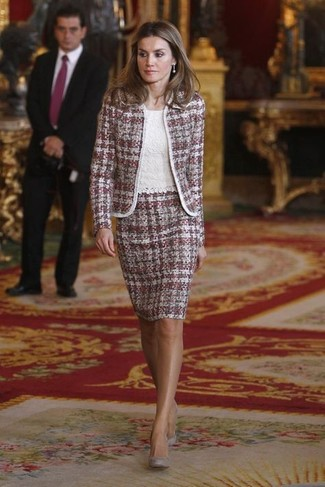 How to wear: purple tweed jacket, white lace sleeveless top, purple tweed pencil skirt, grey suede pumps
