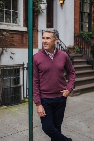 Men's Looks & Outfits: What To Wear In 2020: Choose a purple zip neck sweater and navy chinos for a day-to-day ensemble that's full of style and character.