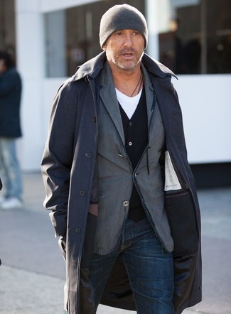 How to wear: black raincoat, grey cotton blazer, black cardigan, white v-neck t-shirt