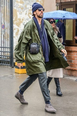 How to wear: olive raincoat, grey wool blazer, olive henley shirt, grey dress pants