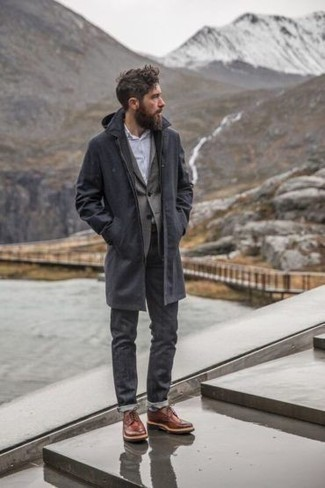 Charcoal Jeans Outfits For Men: A navy raincoat and charcoal jeans are a nice getup to keep in your off-duty fashion mix. Finishing off with tobacco leather derby shoes is an easy way to inject a dose of polish into this getup.