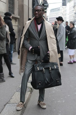 How to Wear a Black Leather Briefcase: For relaxed dressing with a street style take, consider pairing a beige raincoat with a black leather briefcase. Complement your ensemble with a pair of beige suede tassel loafers to avoid looking too casual.