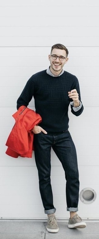 How to wear: red raincoat, black cable sweater, grey dress shirt, black jeans