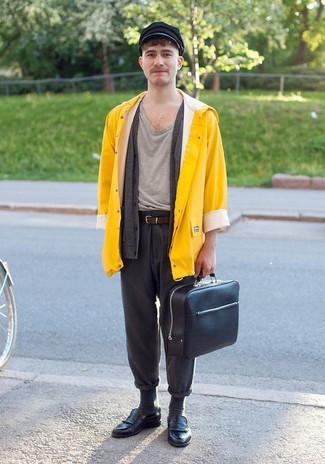 How to wear: yellow raincoat, charcoal cardigan, grey crew-neck t-shirt, charcoal wool chinos