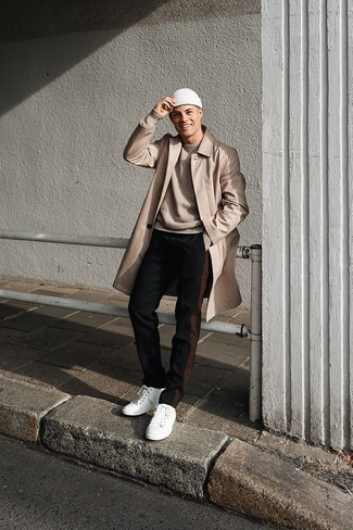 Tan Crew-neck Sweater Outfits For Men: This ensemble with a tan crew-neck sweater and black chinos isn't super hard to pull off and is easy to change. Switch up your getup with more casual footwear, such as this pair of white canvas low top sneakers.