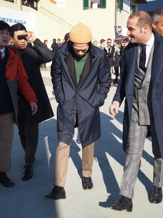 How to wear: navy raincoat, green crew-neck sweater, khaki dress pants, navy leather casual boots