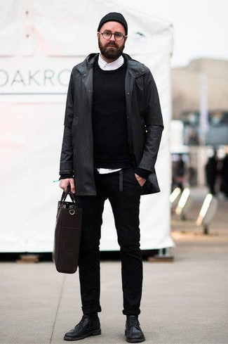 How to Wear a Black Raincoat For Men: Why not marry a black raincoat with black chinos? These two items are totally practical and look awesome when married together. To bring some extra depth to your ensemble, add a pair of black leather derby shoes to this look.