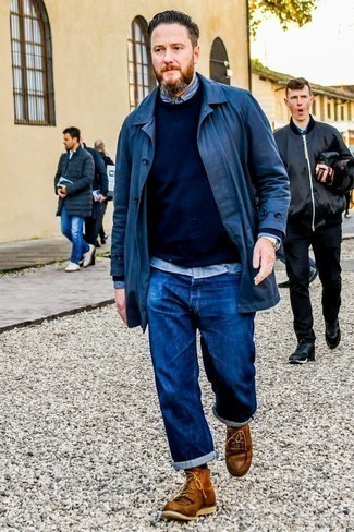 How to Wear Brown Leather Work Boots For Men: This laid-back combination of a navy raincoat and navy jeans is a safe bet when you need to look stylish in a flash. Brown leather work boots are guaranteed to bring a touch of stylish effortlessness to your look.