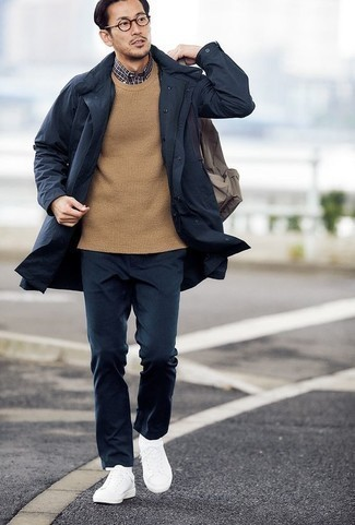 How to Wear White Socks For Men: A navy raincoat and white socks are a nice combo to have in your day-to-day casual fashion mix. Go ahead and introduce a pair of white canvas low top sneakers to this outfit for a hint of elegance.