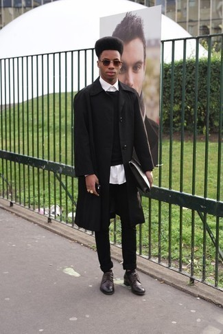 How to Wear Burgundy Sunglasses For Men: Wear a black raincoat and burgundy sunglasses for a look that's both street style and seriously stylish. You can take a classic approach with shoes and complete this look with a pair of dark brown leather derby shoes.