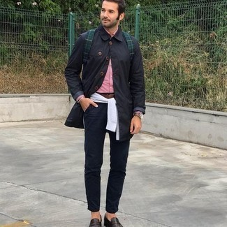 Dark Green Backpack Outfits For Men: If you enjoy a more casual approach to style, why not choose a black raincoat and a dark green backpack? If you wish to easily smarten up this ensemble with a pair of shoes, why not complement your ensemble with dark brown leather loafers?
