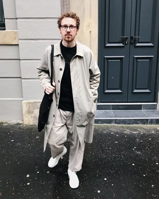 Black Canvas Tote Bag Outfits For Men: For a laid-back outfit, opt for a beige raincoat and a black canvas tote bag — these two items play beautifully together. White canvas low top sneakers are a fail-safe way to bring a dose of polish to this ensemble.