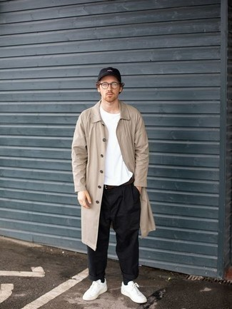 Baseball Cap Outfits For Men: If you feel more confident in practical clothes, you'll like this urban pairing of a beige raincoat and a baseball cap. White canvas low top sneakers are a surefire way to bring some extra elegance to this outfit.