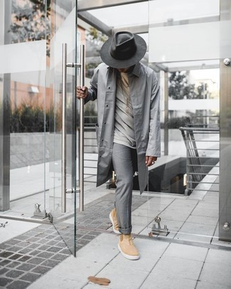 Tan Suede Chelsea Boots Outfits For Men: For a relaxed casual getup, rock a grey raincoat with grey chinos — these items go really well together. If you need to effortlessly amp up this look with a pair of shoes, add a pair of tan suede chelsea boots to your getup.