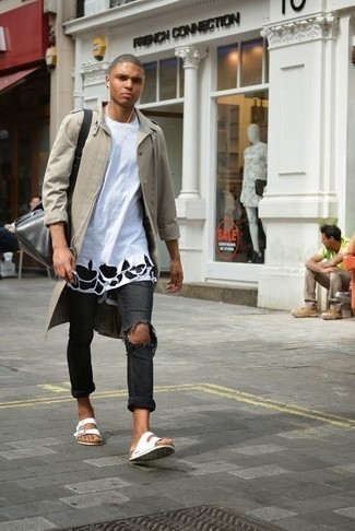 Charcoal Ripped Jeans Outfits For Men: If it's comfort and functionality that you appreciate in an ensemble, reach for a beige raincoat and charcoal ripped jeans. Our favorite of a ton of ways to complement this look is a pair of white canvas sandals.