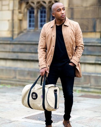 Navy Skinny Jeans Outfits For Men: When the setting allows a casual ensemble, team a tan raincoat with navy skinny jeans. Complete your look with a pair of brown suede desert boots to kick things up to the next level.