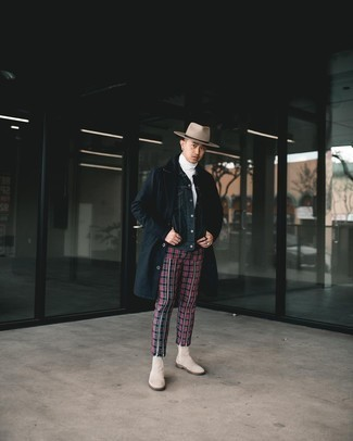 Beige Suede Chelsea Boots Outfits For Men: For a neat and relaxed outfit, pair a black raincoat with red and black plaid chinos — these two items play pretty good together. To add some extra classiness to your look, complement this ensemble with beige suede chelsea boots.