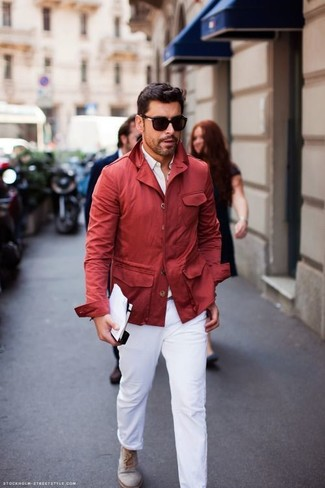 How to wear: red raincoat, white dress shirt, white chinos, grey suede desert boots