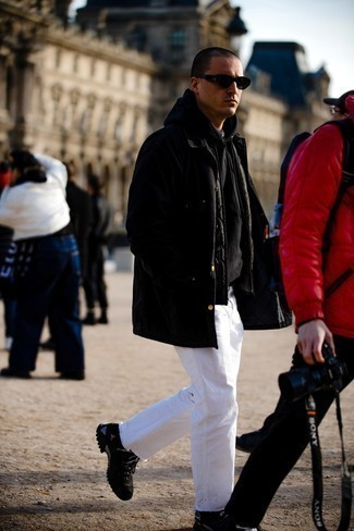 Black Athletic Shoes Outfits For Men: A black raincoat and white jeans are an easy way to introduce extra cool into your casual fashion mix. Feeling inventive? Switch up this ensemble by rocking black athletic shoes.