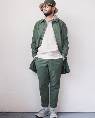 Grey Hoodie Outfits For Men: The versatility of a grey hoodie and dark green chinos means they'll stay on constant rotation. Wondering how to finish? Complete this ensemble with a pair of light blue athletic shoes for a more casual feel.