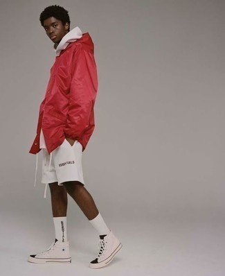 How to Wear a White Hoodie For Men: This pairing of a white hoodie and white sports shorts is dapper and yet it's practical and apt for anything. We love how complete this outfit looks when finished off by white and black canvas high top sneakers.