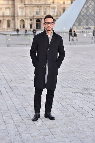 How to Wear Black Leather Chelsea Boots For Men: Inject style into your daily off-duty fashion mix with a black raincoat and black chinos. You can get a bit experimental when it comes to shoes and complete your look with a pair of black leather chelsea boots.