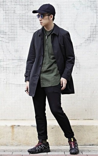 How to Wear Black Jeans For Men: For an ensemble that delivers functionality and dapperness, team a black raincoat with black jeans. Complete your outfit with black athletic shoes to make the outfit current.