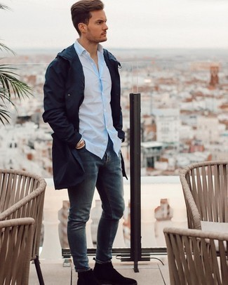 Light Blue Vertical Striped Long Sleeve Shirt Outfits For Men: A light blue vertical striped long sleeve shirt and navy jeans are both versatile menswear essentials that will integrate wonderfully within your off-duty routine. If you feel like stepping it up a bit, complete your outfit with black suede chelsea boots.