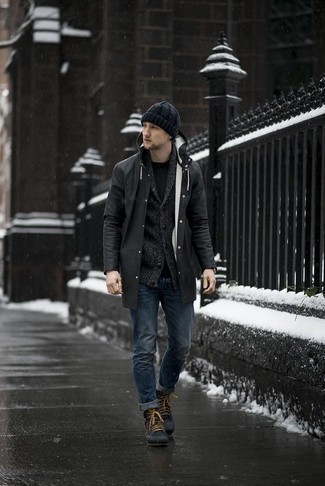 How to Wear a Beanie For Men: A black raincoat and a beanie are wonderful menswear essentials that will integrate well within your day-to-day fashion mix. Let your sartorial chops really shine by finishing off your look with charcoal canvas work boots.