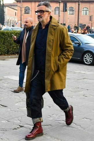 How to Wear a Navy Shirt Jacket For Men: For a look that's very straightforward but can be modified in a ton of different ways, try teaming a navy shirt jacket with navy jeans. We're totally digging how this whole look comes together thanks to burgundy leather casual boots.