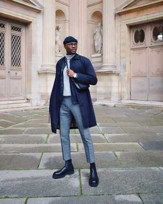 Navy Raincoat Outfits For Men: Try pairing a navy raincoat with light blue chinos to showcase you've got serious sartorial prowess. As for the shoes, you could take a more elegant route with black leather chelsea boots.