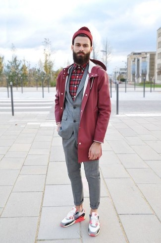 How to wear: red raincoat, grey suit, red plaid long sleeve shirt, multi colored low top sneakers