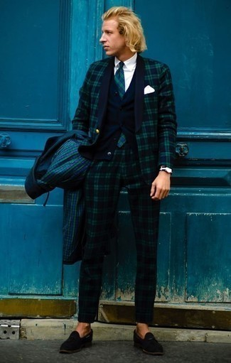 Navy and Green Plaid Suit Outfits: When the situation calls for an elegant yet cool menswear style, you can rock a navy and green plaid suit and a dark green check raincoat. For a sleeker vibe, introduce a pair of black suede tassel loafers to the mix.