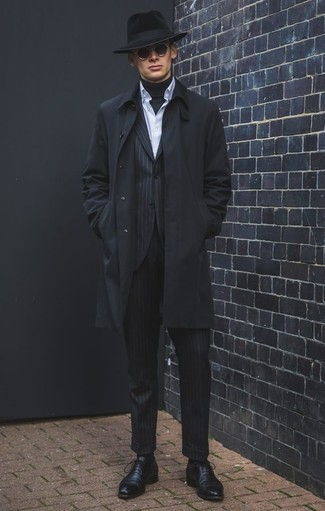 How to Wear a Black Vertical Striped Suit: For an ensemble that's effortlessly sleek and wow-worthy, wear a black vertical striped suit with a black raincoat. If you want to easily up the style ante of this look with one piece, introduce a pair of black leather oxford shoes to the mix.