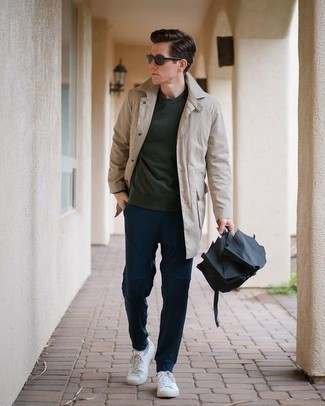 Dark Green Sweatshirt Outfits For Men: This combination of a dark green sweatshirt and navy chinos delivers comfort and dapper menswear style. Complete this outfit with a pair of white canvas low top sneakers et voila, the ensemble is complete.