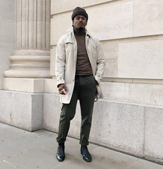 How to Wear a Dark Brown Turtleneck For Men: Who said you can't make a style statement with a casual look? That's easy in a dark brown turtleneck and dark green chinos. Finishing off with black leather chelsea boots is a simple way to breathe a dash of elegance into your look.