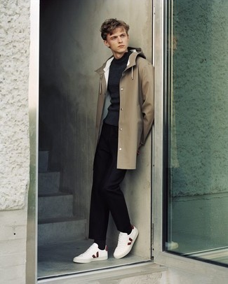 How to Wear White and Red Low Top Sneakers For Men: This combo of a tan raincoat and black chinos spells casual cool and effortless menswear style. A pair of white and red low top sneakers rounds off this outfit very well.