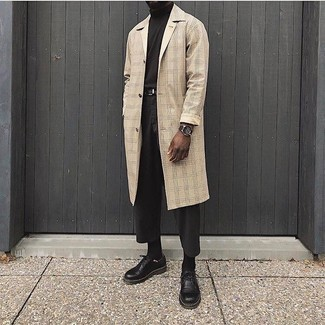 Dark Brown Turtleneck Outfits For Men: This laid-back combination of a dark brown turtleneck and charcoal chinos is capable of taking on different forms depending on the way you style it. Power up this outfit with a pair of black leather derby shoes.