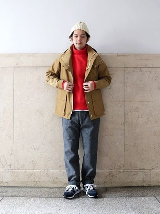 How to wear: tan raincoat, red turtleneck, white crew-neck t-shirt, charcoal wool chinos