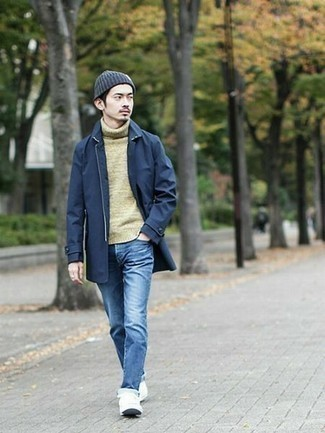 How to Wear a Navy Beanie For Men: This pairing of a navy raincoat and a navy beanie is ideal for casual settings. A cool pair of white canvas low top sneakers is the simplest way to punch up your ensemble.