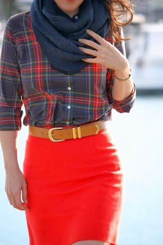 How to wear: red and black plaid button down blouse, red mini skirt, tan leather belt, navy scarf