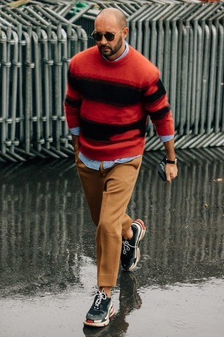 How to wear: red and black horizontal striped crew-neck sweater, light blue vertical striped long sleeve shirt, khaki wool dress pants, charcoal athletic shoes