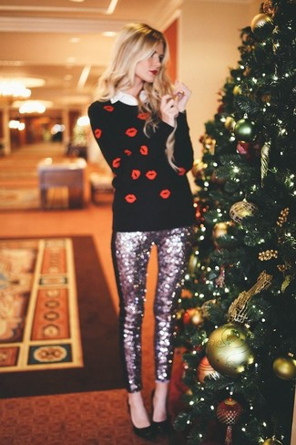 This combination of a red and white print crew-neck sweater and silver sequin skinny pants is very easy to do and so comfortable to wear as well! Dress up this look with black leather pumps. It goes without saying that this one makes for a great, spring-ready outfit.