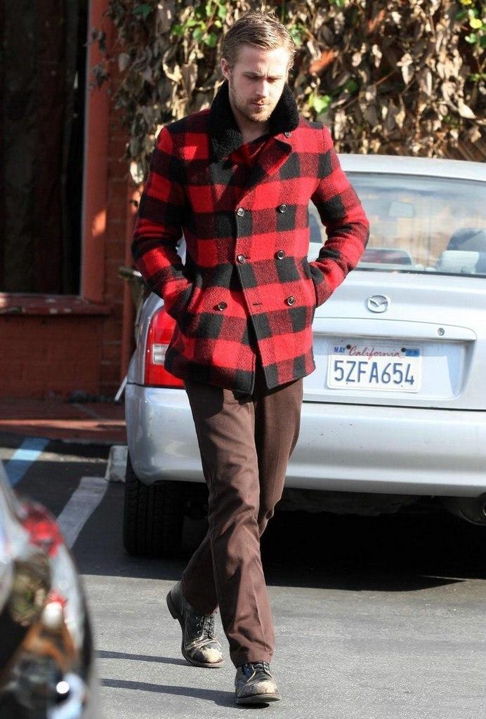 Ryan Gosling wearing Red and Black Gingham Pea Coat, Dark Brown ...