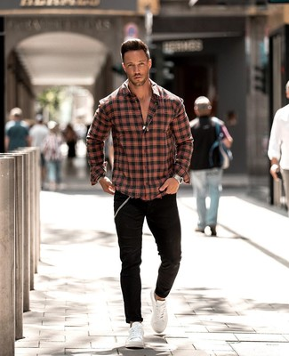 How to wear: red and black plaid long sleeve shirt, black skinny jeans, white leather low top sneakers, silver watch