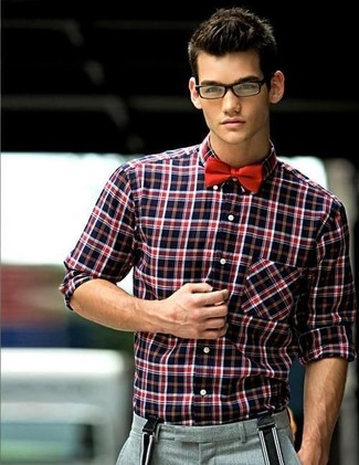 Men's Red and Black Plaid Long Sleeve Shirt, Grey Wool Dress Pants ...