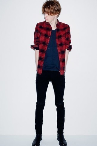 How to Wear Black Ripped Skinny Jeans For Men: Team a red and black plaid long sleeve shirt with black ripped skinny jeans if you want to look casually cool without exerting much effort. And if you want to immediately rev up this getup with footwear, grab a pair of black leather chelsea boots.